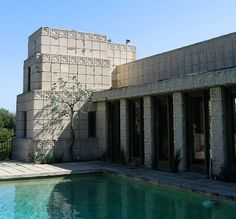 """The iconic Ennis House by pioneer """"starchitect"""" Frank Lloyd Wright located in one of our favorite neighborhoods in Los Angeles Los Feliz. The rich and deep history of MidCentury Modernism throughout LA is not only a source of inspiration for us but also a constant reminder of the endless possibilities that design presents. #shadow #lighting #sunlight #pool #swim #summer #architecture #realestate"""
