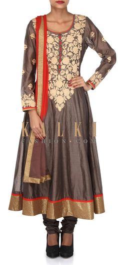 Buy Online from the link below. We ship worldwide (Free Shipping over US$100). Product SKU - 304265. Product Link - http://www.kalkifashion.com/grey-anarkali-suit-adorn-in-thread-embroidery-only-on-kalki.html