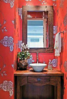 Wall Paper Bathroom Beach Ideas For 2019 Bathroom Red, Beach Bathrooms, Bathroom Wallpaper, Modern Bathroom, Small Bathroom, Wallpaper Decor, Home Board, Bathroom Interior Design, Beautiful Bathrooms