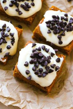 Best-Ever Pumpkin Chocolate Chip Bars - These are so AMAZING.