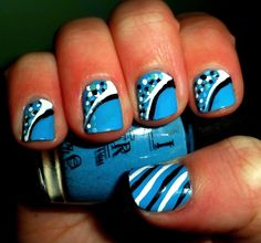 "OPI ""no room for the blues""  with black and white designs"