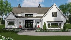 Modern Farmhouse Plan with 3-Beds Down and Bonus Over Garage - 14663RK | Architectural Designs - House Plans
