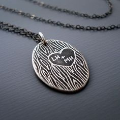 Personalized Carved Initials Necklace  <3