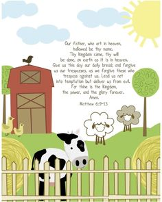 The Lord's Prayer for Kids farm 11 by 14 by EmilyBurgerDesigns. $25.00, via Etsy.