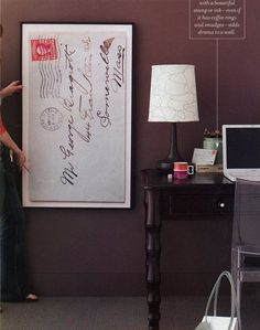 """Great idea from now out of print magazine """"Blueprint"""". Enlarged photograph of an old envelope, framed."""