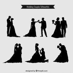 Couples de mariage Silhouettes Collection Vecteur Premium