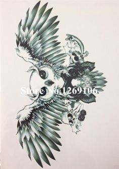 [Visit to Buy] Hot Sale Owl and Skull 21 X 15 CM Sized Sexy Cool Beauty Tattoo Waterproof Hot Temporary Tattoo Stickers#24 #Advertisement