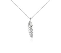 Mini Feather Diamond Pendant in 14k White Gold #BlueNile #MothersDay #Jewelry