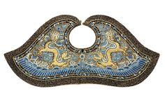 An embroidered blue-ground silk 'dragon' robe and collar, 19th century