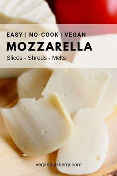 Real Vegan Mozzarella Cheese Top your pizza with the best homemade vegan mozzarella! Make it in a blender with this quick and easy recipe in 5 minutes or less! This cashew based cheese recipe requires no cooking and it slices, melts and shreds beautifully Vegan Cheese Recipes, Vegan Foods, Vegan Dishes, Dairy Free Recipes, Vegan Gluten Free, Vegan Vegetarian, Vegan Pizza, Homemade Vegan Cheese Recipe, Dairy Free Butter Recipe