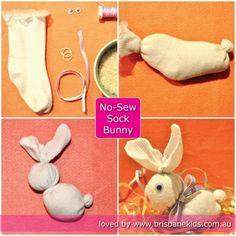 No-Sew Sock Bunny Easter Craft - Brisbane Kids An easy no sew craft for kids at Easter Sock Crafts, Bunny Crafts, Easter Projects, Easter Crafts For Kids, Easter Ideas, Art Projects, Sewing Projects, Easter Activities, Craft Activities For Kids