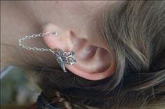 Beautiful butterfly ear cuff with chain to post