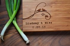 "Personalized Cutting Board ""two Birds"" Bamboo Wood For Wedding Or Anniversary…"