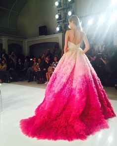 This @csiriano gown is so #PINK and available at #Kleinfeld #Regram via @kleinfeldbridal #christiansiriano #pinkdress #runway #ballgown