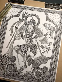62 Ideas for design print illustration etsy Doodle Art Drawing, Cool Art Drawings, Pencil Art Drawings, Art Drawings Sketches, Mandala Drawing, Buddha Drawing, Krishna Drawing, Dancing Drawings, Pencil Sketching