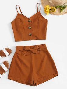 Conjunto top con encaje de espalda con cordón con shorts de cintura con volante -Spanish SHEIN(SHEINSIDE)