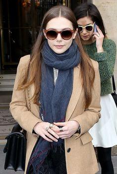 ELIZABETH OLSEN OLSEN STACKED RINGS  - perfect hair colour