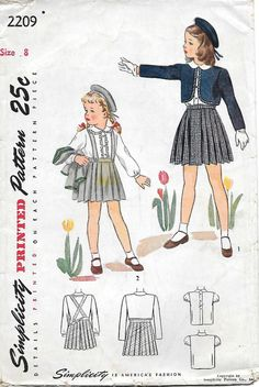 Simplicity 2209 - 1940s Girls Pleated Skirt, Jacket and Blouse Vintage Sewing Pattern, offered on Etsy by GrandmaMadeWithLove