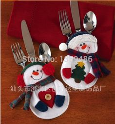 Cheap table decorating pictures, Buy Quality decorative table top directly from China table lace Suppliers: 		new year 6Pcs Fancy snowman Christmas Decorations Silverware Holders Pockets Dinner Table Decor Free Shipping