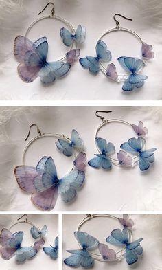 Dreamy Hoops Earrings Butterflies from Gracia Set for Boho Chic Look on Party, Butterfly Earrings, Hoop Earrings of Silk Butterfly wingsYou can combine it w Ear Jewelry, Cute Jewelry, Jewelry Crafts, Jewelery, Jewelry Accessories, Jewelry Making, Cute Earrings, Bridal Earrings, Silver Earrings