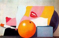 """TOM WESSELMANN (Cincinatti, Ohio; USA, 1931-NY 2004) """"Great American Nude n 98"""", 1967 / Pertenece a una serie que el artista desarrolló sobre este tema e ilustra muy bien cuál es el tema pictórico de su autor. La rutilante naranja, la boda estandarizada de pub. dentrífica y el paralelo entre el cigarro y el seno, todo enlazado por una composición de curvas y colores planos, creando una atmósfera de un erotismo distanciado que nos reclama como un objeto más de consumo / Historia del Arte…"""