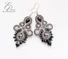 Grey soutache earrings