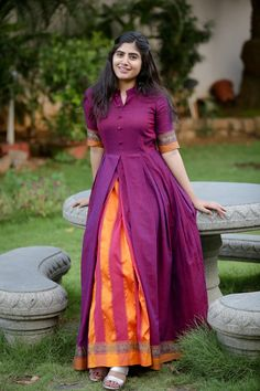 Purple Ananya Fit and Flare Handloom Dress Long Anarkali Gown, Long Gown Dress, Lehenga Gown, Sari Dress, Anarkali Churidar, Long Frock, Frock Dress, Designer Party Wear Dresses, Kurti Designs Party Wear