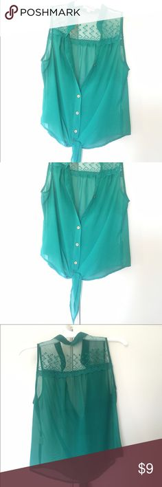 Love Culture Teal Crop Top Blouse with Sheer Top L Missing one button at the top (but I think it looks better with the two top buttons undone.) size large but runs small, I'm usually a small or medium. Love Culture Tops Tank Tops