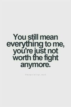 You still mean everything to me you're just not worth the fight anymore