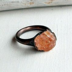 (via JEWELLERY / handmade copper ring with raw sunstone)