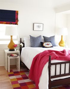 """{A Bright and Bold Summer Beach House} A Bold Bedroom """"These nesting tables are great for the small master bedroom,"""" Ewart says. """"Pull the little one out at night, push it back in when you're not using it. Small Master Bedroom, Home Bedroom, Bedroom Decor, Bedroom Ideas, Small Bedrooms, Bedroom Storage, Bedroom Pictures, Beach House Decor, Diy Home Decor"""