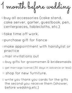 Wedding Planning Checklists, this link has a list from 4 months to ...