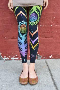 Handmade | Flower of Life Leggings | Organic | Original Design | Ankle Length | Yoga Art | Tights