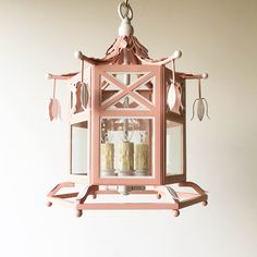 Small Audrey Lantern in Custom Pink and White by Coleen and Company  http://www.coleenandcompany.com/the-audrey-lantern/