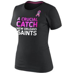 Nike New Orleans Saints Women's Breast Cancer Awareness Attitude T-Shirt - Black
