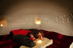 """From Christmas to Easter, the Engelberg-Titlis igloo village can accommodate up to 52 people in groups, 6 to an igloo, or in complete privacy as a couple in the """"romantic igloo"""". If you don't quite fancy a night in the ice palace, you can just have a taste of igloo life with a drink at the igloo bar or a cheese fondue. #hotel #travel"""
