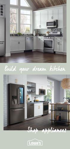 Upgrade your kitchen to dream status with stylish and modern appliances from Lowe's. Choose from our list of trusted brands for everything from ovens and ranges to dishwashers, washing machines, fridges, and so much more. Shop appliances at Lowe's today. Kitchen Shop, Home Decor Kitchen, New Kitchen, Interior Design Living Room, Home Kitchens, Kitchen Ideas, Bread Kitchen, Grey Kitchens, Modern Kitchens