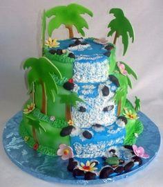 Hawaiian Waterfall Birthday Cake