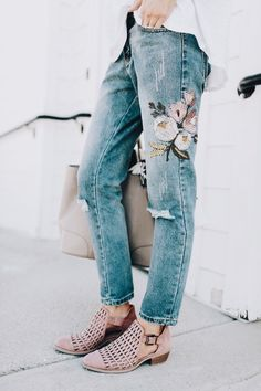 floral embroidered denim and cutout booties