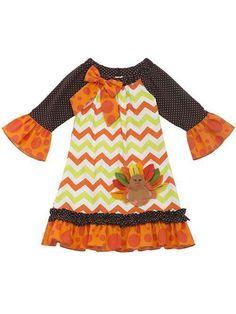 Rare Editions Girls Orange Brown Chevron TURKEY Thanksgiving Fall Dress 6X New #RareEditions #DressyEveryday