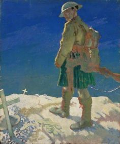 A Highlander Passing a Grave, painted 1917 by William Orpen (British 1878-1931)
