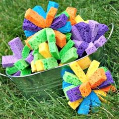 Sponge Water Bombs  I think these would be easy to make with strips of sponge and a zip tie
