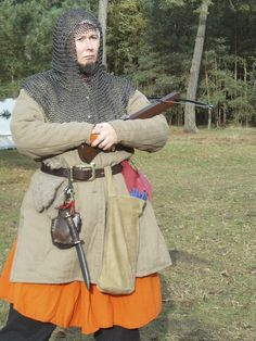 Mediaval crossbow archer. Gambeson from linen, relined with wool. Woolen Surcote.
