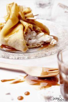 Crêpe au cœur meringué et au caramel beurre salé Meringue, Galette, Muffins, Cooking Recipes, Drinks, Ethnic Recipes, Food, Pear, Cooking