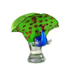 Peacock Glass 10.25 Inch Perfume Bottle Sculpture Dale Tiffany Jars, Urns & Pots Decorativ
