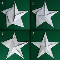 Folding 5 Pointed Origami Star Christmas Ornaments How to fold a 5 pointed origami star with step by step photos. An easy way to make beautiful Christmas star decorations. Christmas Origami, Christmas Fun, Beautiful Christmas, Origami Xmas Star, Christmas Recipes, Origami 5 Pointed Star, Origami Snowman, Diy Paper, Paper Crafting