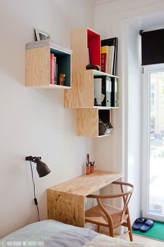 Wooden boxes on the wall via No Home Without You blog.