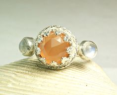 Peach Moonstone Ring Sterling Silver by TazziesCustomJewelry