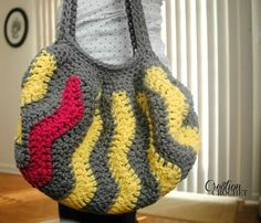 Choose a your favorite combination of colors and work up this Chevron Crochet Purse. This stylish bag is made using worsted weight yarn and measures about 12 inches wide by 10 inches tall with straps measuring 20 inches long.