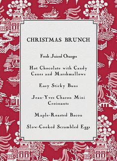 love this menu card more christmas brunch